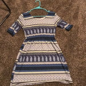 Striped blue cream and white dress